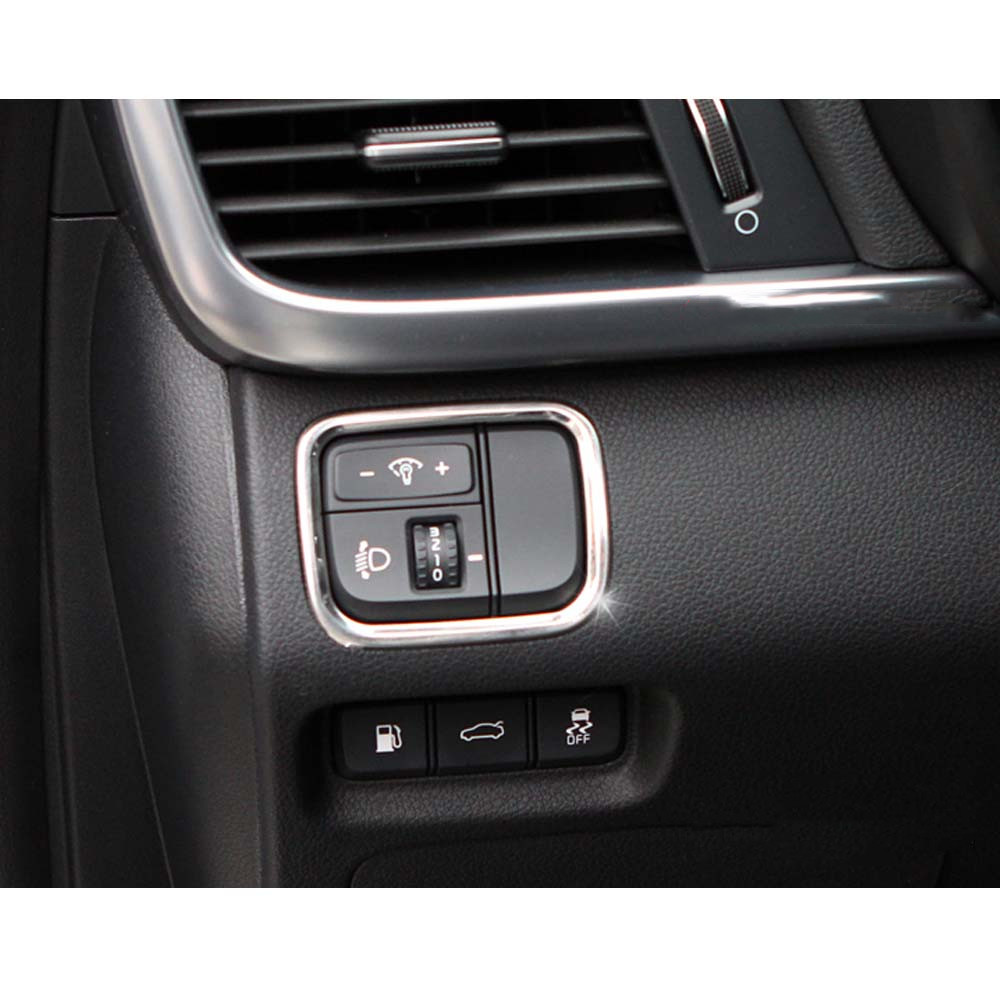 For KIA K5 2016 2017 Car Front Light Lamp Switch Button Frame Sticker Car Moldings Stainless Steel image