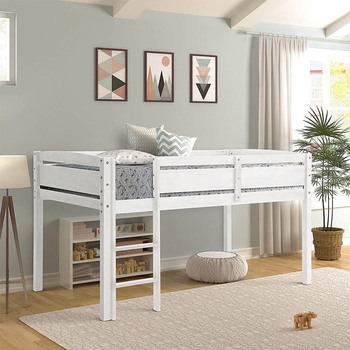 200x110cm Solid Wood Loft Bed Frame for Kids Children College Student  Sleeping Bed with Slat Ladder solid wood children beds with guardrail small infant bedside single widening and splicing kids bed