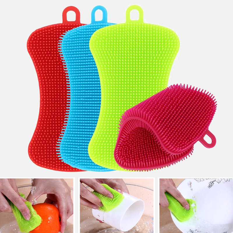 1/3/4pcs Kitchen Cleaning Brush Silicone Dishwashing Brush Vegetable Fruit Dish Washing Cleaning Brushes Pot Pan Sponge Scrubber