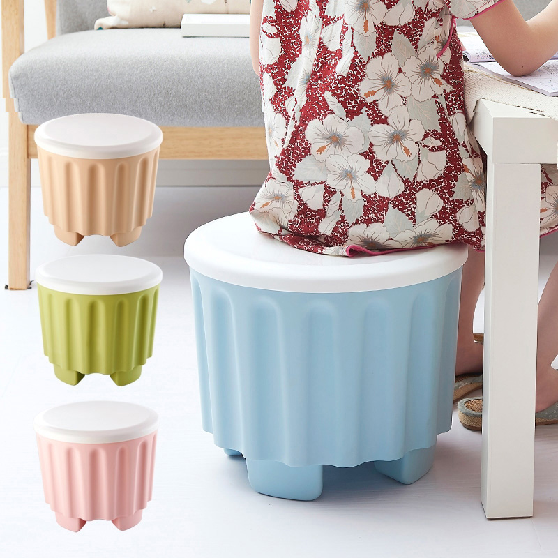 4 Colors Plastic Storage Stool Household Snacks Storage Box With Cover Fashion Creative Adult Stool Change Shoe Bench