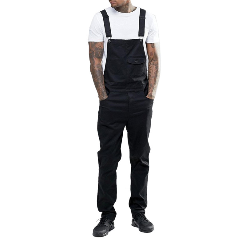 Black/White/Blue Men Casual Solid Color Jumpsuit Jeans Casual Bib Overall Suspender Pants S-3XL