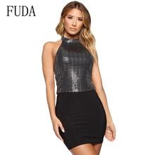 FUDA Bodycon Sequin Mini Short Dress New Arrivals Elegant Summer Women Sleeveless Bandage Dress Sexy Glitter Party Club Dresses цена и фото