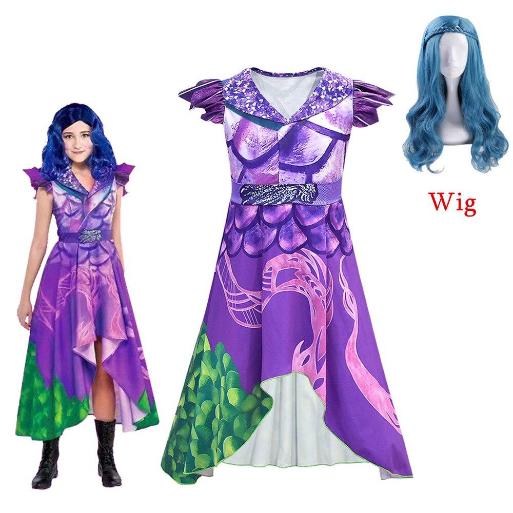 Mal and Evie Girls Descendants 3 Cosplay Dress Costume 3D Printed Adult Kids Girls Halloween Masquerade Sleeved Short Dresses