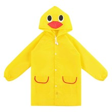 NEW Colors Cartoon Animal Style Waterproof Kids Raincoat Jacket Poncho For Boys Girls High Quality Yellow Duck