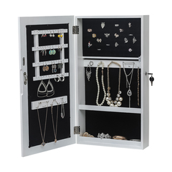 Jewelry Cabinet Armoire with Mirror Wall-Mounted Space Saving Jewelry Storage Organizer White Fashion Hanging Makeup Mirror New