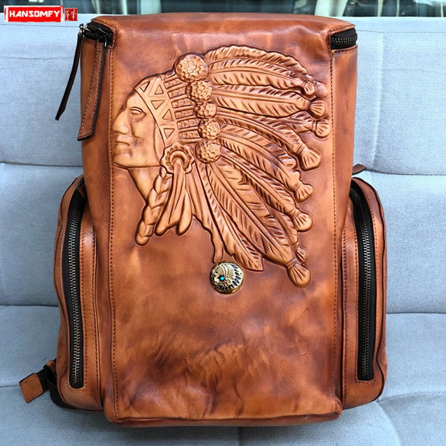 Vintage Leather Mens Backpack Casual Computer Bag Men Travel Backpacks Schoolbag Retro Simple Polishing Old Distressed Leather