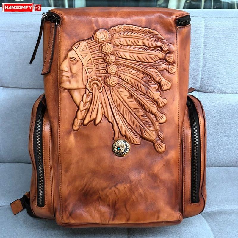 Vintage Leather Men's Backpack Casual Computer Bag Retro Polishing Old Distressed Leather Men Travel Backpacks Schoolbag Simple