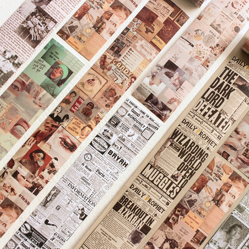6.4*46cm Vintage Newspaper Washi Tape DIY Decoration Scrapbooking Planner Masking Tape Adhesive Tape Kawaii Stationery