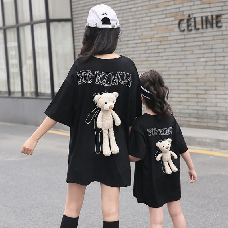 online-parent-child-new-long-detachable-teddy-bear-t-shirt