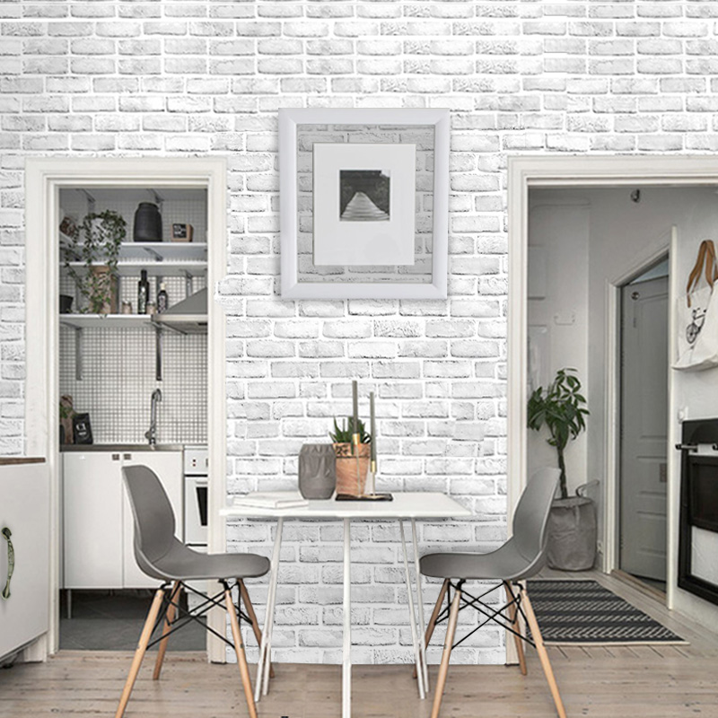 Home Decor 3D Wallpaper PVC White Brick Wall Stickers Paper Self-adhesive Kitchen Sticker Room Kitchen Wallpaper