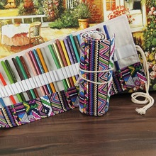 National Style Pencil Case Wrap Bag 36/48/72 Slot Canvas Folding Pouch Roll for Gel Pens Marker Stationery School Supplies H6573