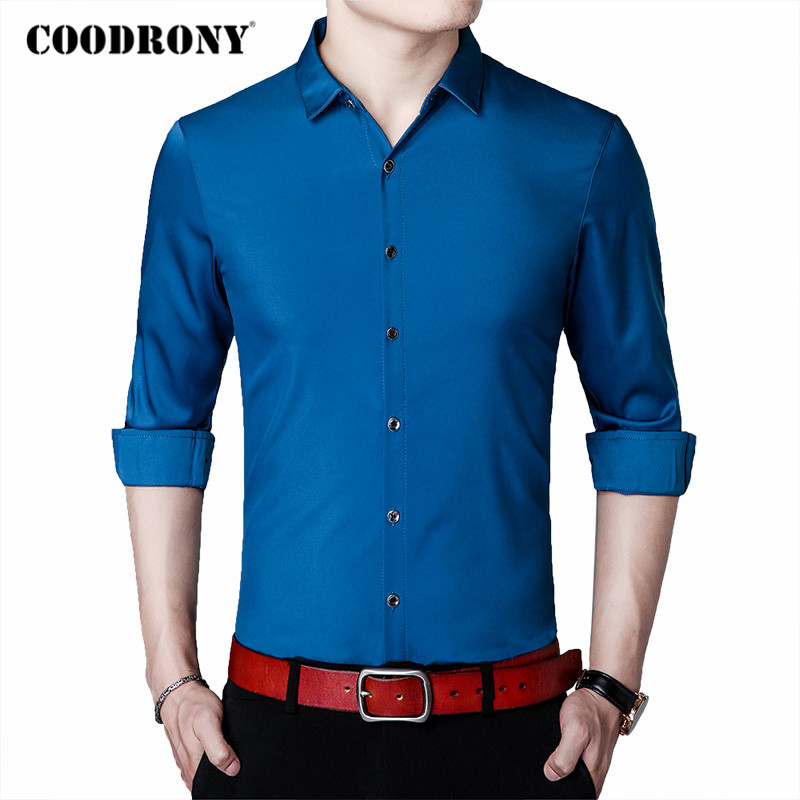 COODRONY Brand Pure Color Long Sleeve Shirt Men Clothes Spring Autumn Business Casual Shirts Mens Plus Size Chemise Homme C6032