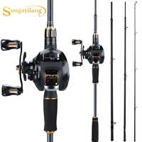 Sougayilang 4 Abschnitte Hohe Geschwindigkeit Angelruten Set Porable Ultra-licht Carbon Angeln Reel with12 + 1BB Angeln Casting reel Combo
