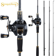 Sougayilang 4 Sections High Speed Fishing Rods Set Porable Ultra-light Carbon Fishing Reel with12+1BB Fishing Casting Reel Combo(China)
