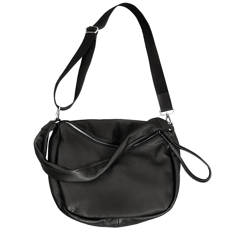100% Zacht Echt Leer Schoudertassen Voor Vrouwen Fashion Half Moon Handtas Hoge Quliaty Brede Schouderriem Crossbody Bag Lady - 4