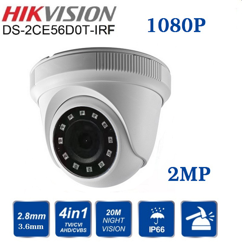 Hikvision DS-2CE56D0T-IRF CVBS/AHD/CTV/TVI 4 in 1 HD Camera 1080P 2MP With IR Indoor/outdoor Security Video Surveillance Camera