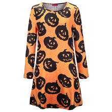 halloween sexy dress printed pumpkin plus size vintage dresses 2019 black fashion a-line print o-neck casual club red xxl