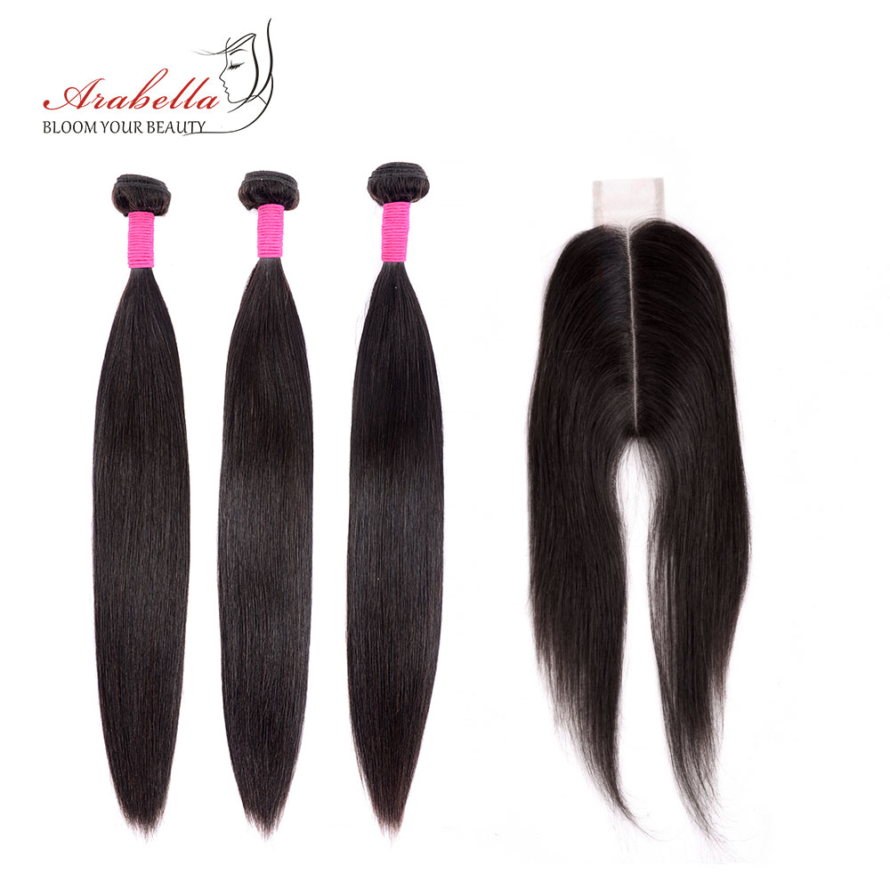 Bundles With Closure Peruvian Straight Hair Bundles With 2*6 Closure Remy Human Hair Weave Arabella Closure With Bundles