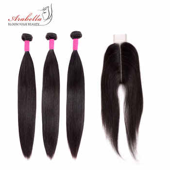 Bundles With Closure Peruvian Straight Hair Bundles With 2*6 Closure Remy Human Hair Weave Arabella Closure With Bundles - DISCOUNT ITEM  49% OFF All Category