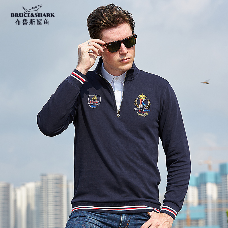 Men's Long Sleeved Polo Shirt Plus Size 4XL Stand Collar Thicken Cotton Men Tees Casual Business Male Top Embroidery Lapel Polo