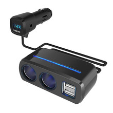 Vehicle Charger with Voltage Detection Dual USB One-Two Cigarette Lighting Device
