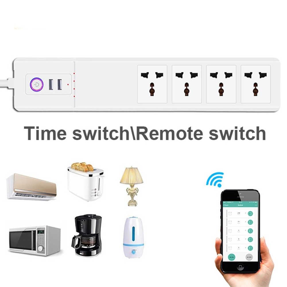 WiFi de potencia inteligente de puntos de venta universal enchufes con USB remoto Control de voz, supresor de picos de tensión de trabajo Alexa de Google
