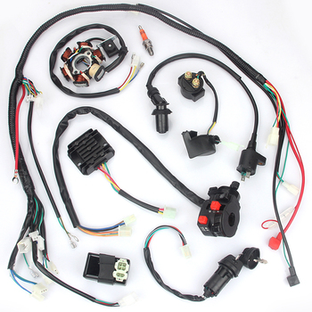 Full Electrics Wiring Harness Loom CDI Coil For GY6 125CC 150CC ATV Quad Go Kart Buggy goofit cdi ignition coil set for yerf dog gy6 50cc 60cc 80cc 125cc 150cc go kart atv scooter go kart group 81
