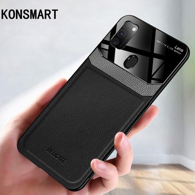 """KONSMART do Samsung Galaxy M30S etui do Samsung M30S 6.4 """"pleksi obiektyw aparatu pokrywa luksusowe PU skórzane etui lustrzane na telefon"""