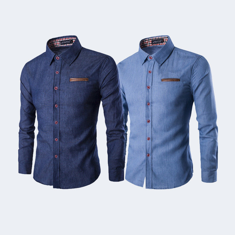 Newest Men's DRESS SHIRTS Slim Stylish Stretch Button Down Long Sleeve 2 Colors Casual Cotton