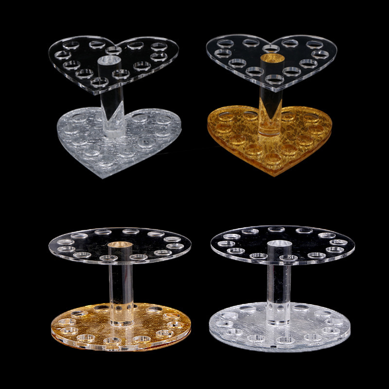 1PC Professional Heart Round Makeup Nail Art 12 Holes Acrylic Gel Nail Brush Pen Holder Gold Rest Stand Display Brushes