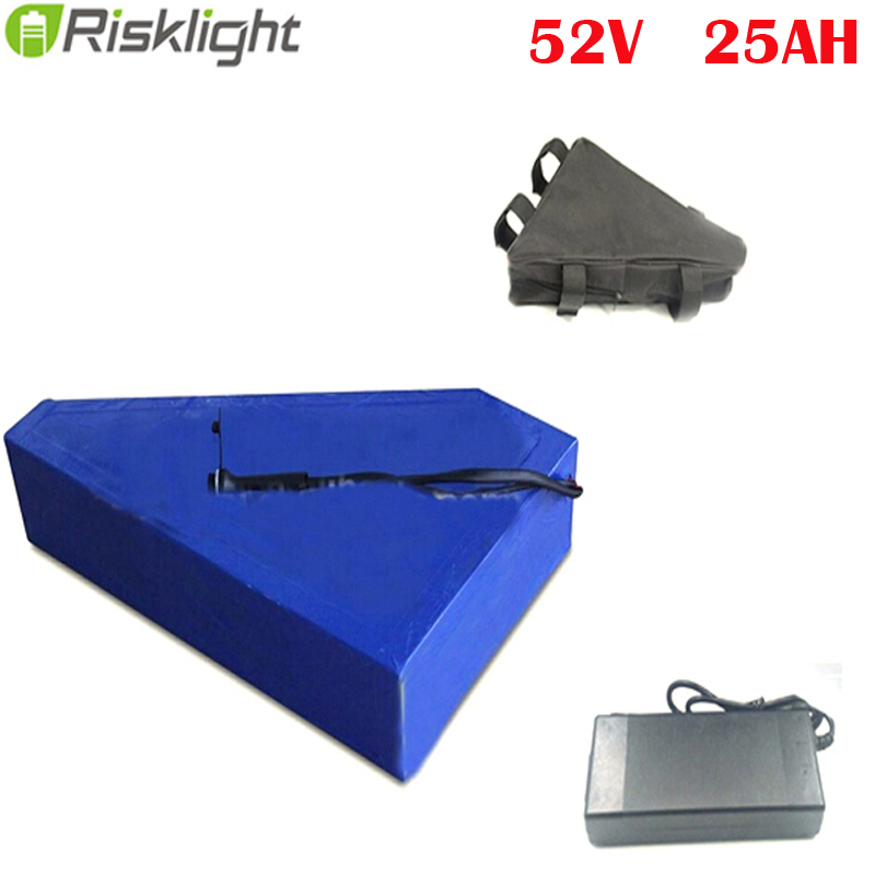 Electric Bicycle 52V 25Ah Lithium ion Battery 1500W E-bike Triangle Battery Pack 14S Batteries For Panasonic cell