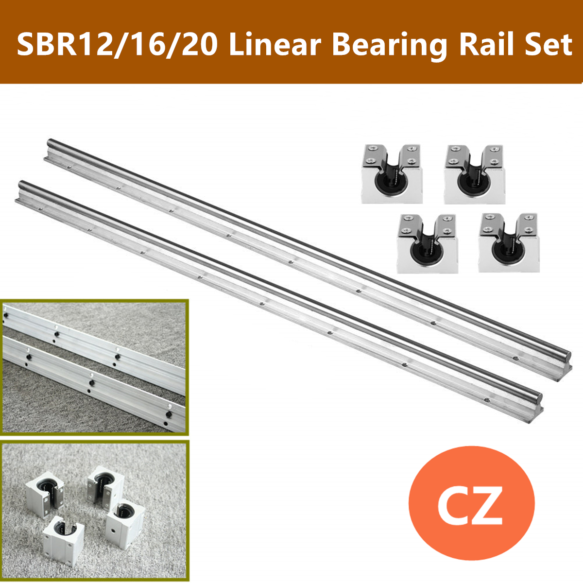 2Pcs SBR12/16/20 200mm-1500mm 12MM 16MM 20MM Linear Bearing Rail Slide Guide Shaft + 4Pcs SBR12UU/SBR16UU/SBR20UU Blocks