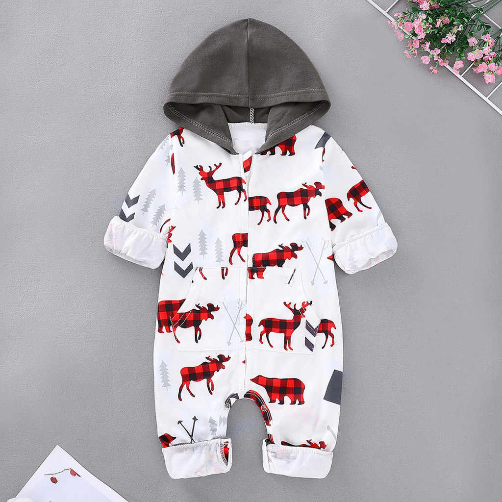 Romper Newborn Costume MUQGEW 2019 New Infant Jumpsuit For Baby Unisex Fashion Girls Boys Christmas Santa Cartoon Hooded Romper