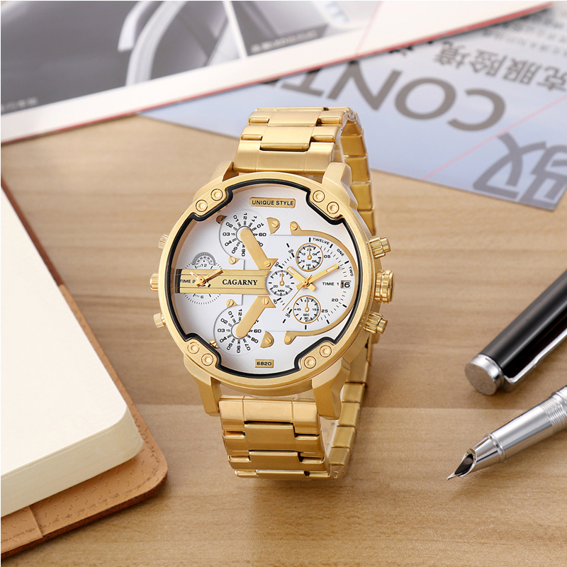 cagarny golden stainless steel mens quartz watches man male clock fashion wristwatches dual time zones auto date military Relogio Masculino free shipping drop shipping (6)