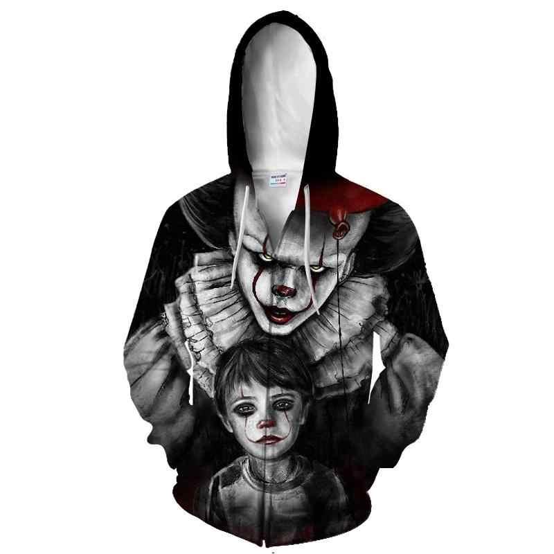 Moda hoodies para homem legal moletom com capuz para homem/mulher impressão 3d sorridente palhaço streetwear hip hop agasalho com