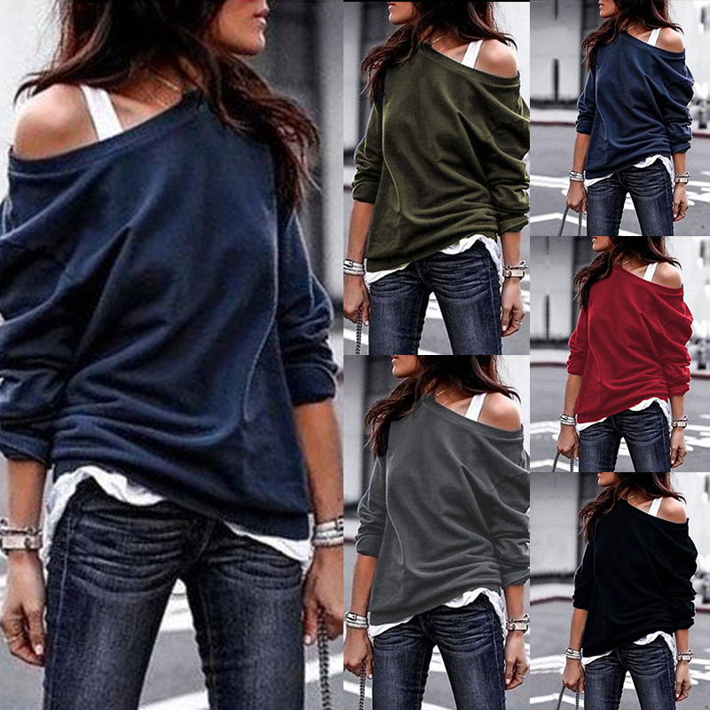 Women Pullovers Fashion One Off Shoulder Solid Loose Hoodies Casual Long Sleeve Plus Size Cotton Sexy Autumn Female Sweatshirt