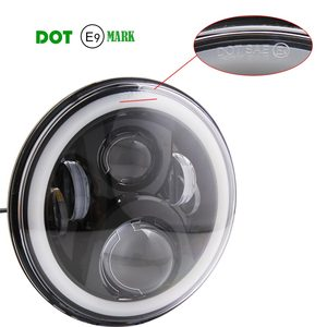 Image 3 - Pair 7 Inch Round LED Headlights High Low Beam White Halo Ring Angel Eyes DRL + Amber Turning Signal Lights for Jeep & Hummer