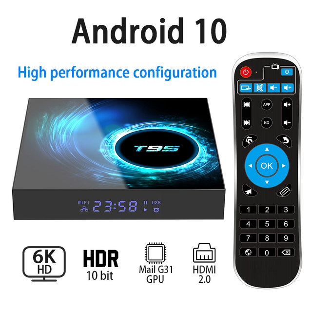 Caixa de tv 6k sem fio t95 h616, android 10.0, 2.4g 4gb 64gb, youtube quad core 1080p h.265 conjunto de media player caixa superior