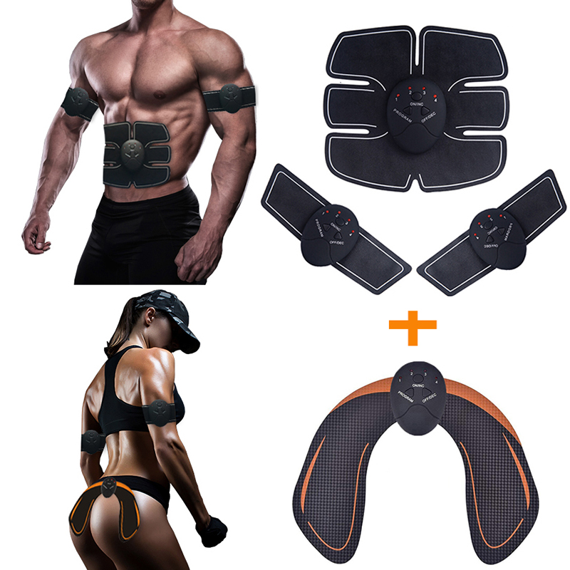 EMS Abdominal Muscle Stimulator Hip Trainer Electroestimulador Muscular Arm Body Slimming Weight Loss Fitness Massager Unisex