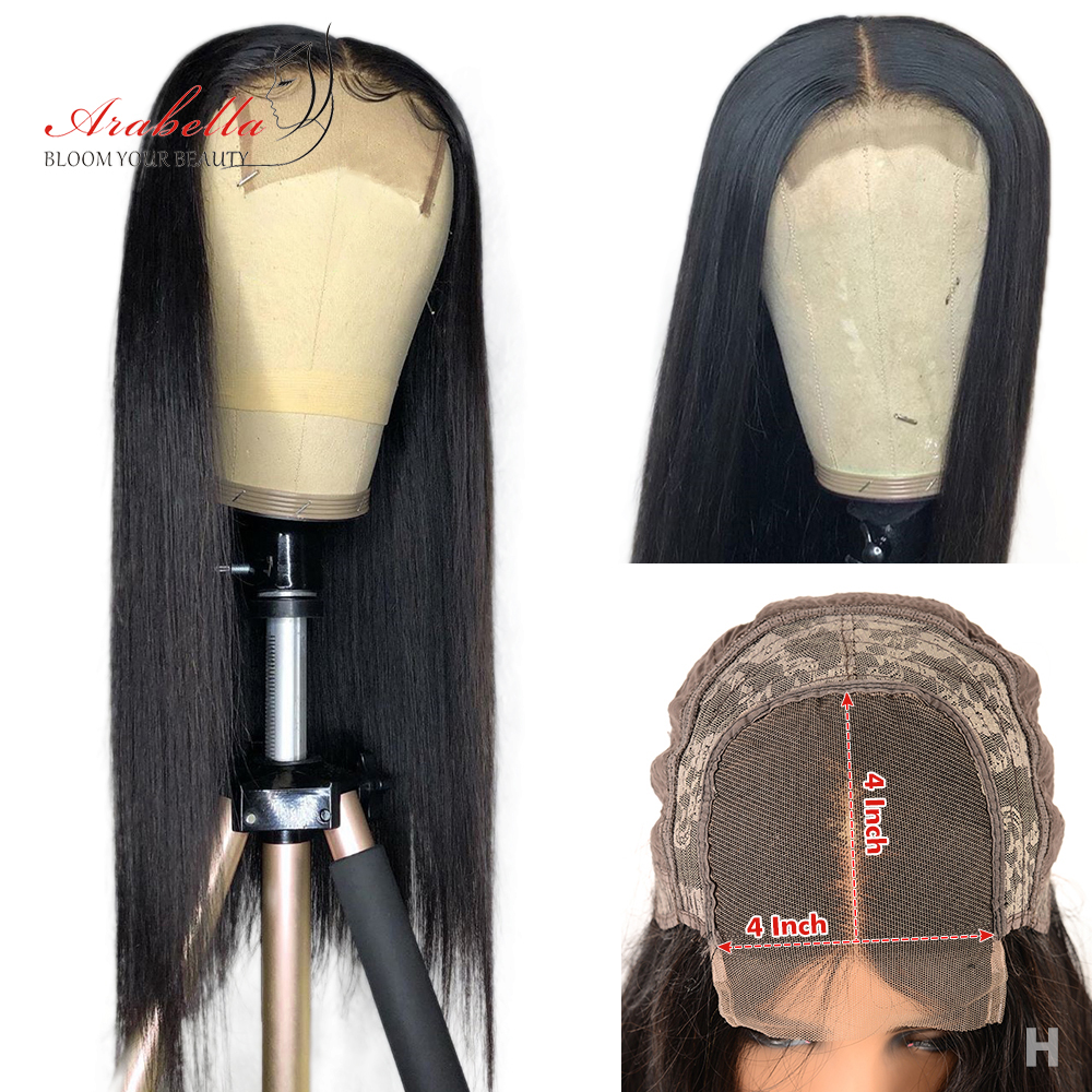 Peruvian 4*4 Lace Closure Wig Pre Plucked Wig With Baby Hair Arabella 180% Density Bleached Knots Straight Remy Hair Closure Wig