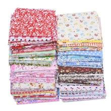 50 pçs sortidas floral impresso algodão pano costura estofando tecido para retalhos bordado diy material feito à mão 10x10cm quadrado