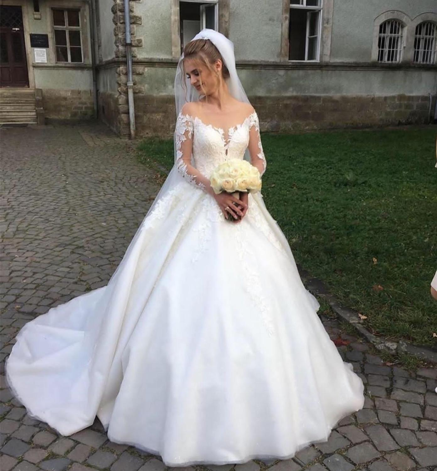 2020 Custom Wedding Dress Long Sleeve Lace Ball Gown Tulle High Quality Robe De Mariage Bestidos De Novia Gorditas Gorgeous New