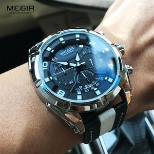 Image 2 - MEGIR Fashion Mens Chronograph Quartz Watches Leather Strap Luminous Hands 24 hour Sports Analogue Wristwatch for Man 2076White