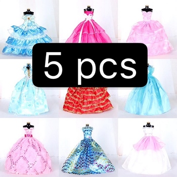Handmade Wedding Dress Princess Evening Party Ball For Doll Accessories xMas DIY Toy Long Gown Skirt Bridal Veil Clothes e ting 1 6 fashion doll clothes western style dress lace wedding evening party girls suit hat veil accessories for barbie doll