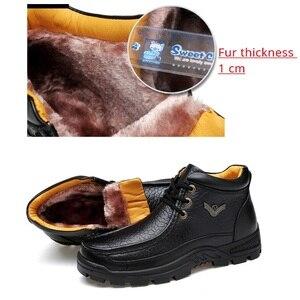 Image 4 - جلد طبيعي أحذية رجالي الفراء حذاء من الجلد الأعمال أحذية الشتاء الدافئة الثلوج رجالي التمهيد الدانتيل يصل أحذية عمل الذكور أفخم walkertop