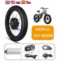 72v 3000w Electric Bike Motor DC Brushless Fatbike Hub Motor Wheel 20/26in Ebike Conversion Kit Fat Bike Motor Wheel Snowmobile