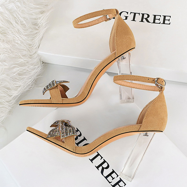 Rhinestone Open Toe  Block Heel Sandals 6