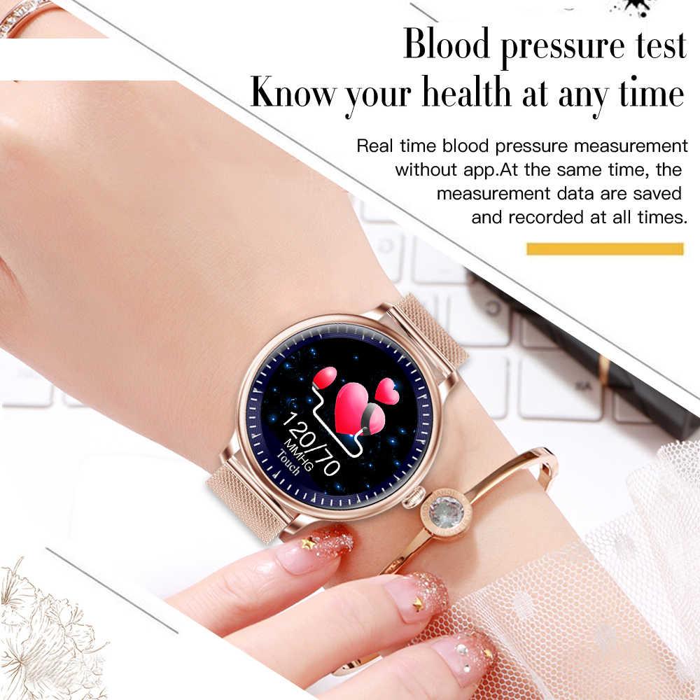 LEMFO NY12 montre intelligente femmes fréquence cardiaque pression artérielle moniteur physiologique IP67 étanche 2.5D écran LCD SmartWatch