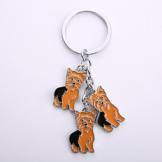 DOWAY Yorkshire Terrier Dog Keychain Keyring for Bag and Belt Accessory Animal Jewelry for Women Kids Adults Party Gifts