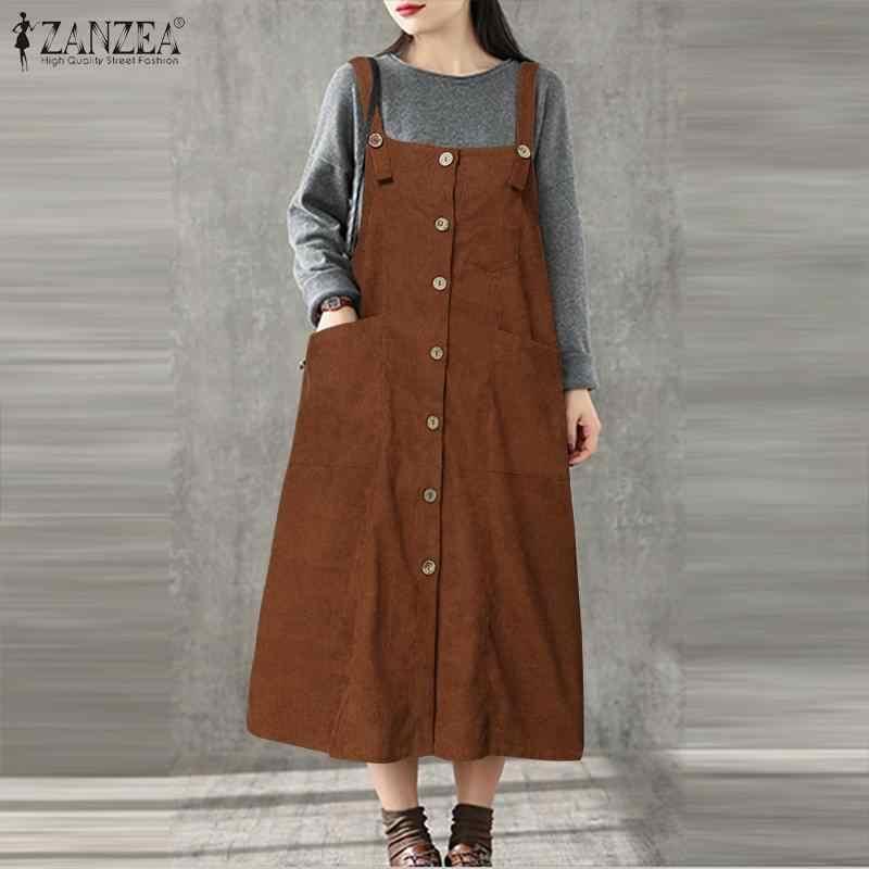 ZANZEA damskie ogrodniczki bez rękawów Vintage sukienka sztruksowa Vestidos Casaul jednolite, z kieszeniami sukienka letnia Midi Lady eleganckimi guzikami sukienki